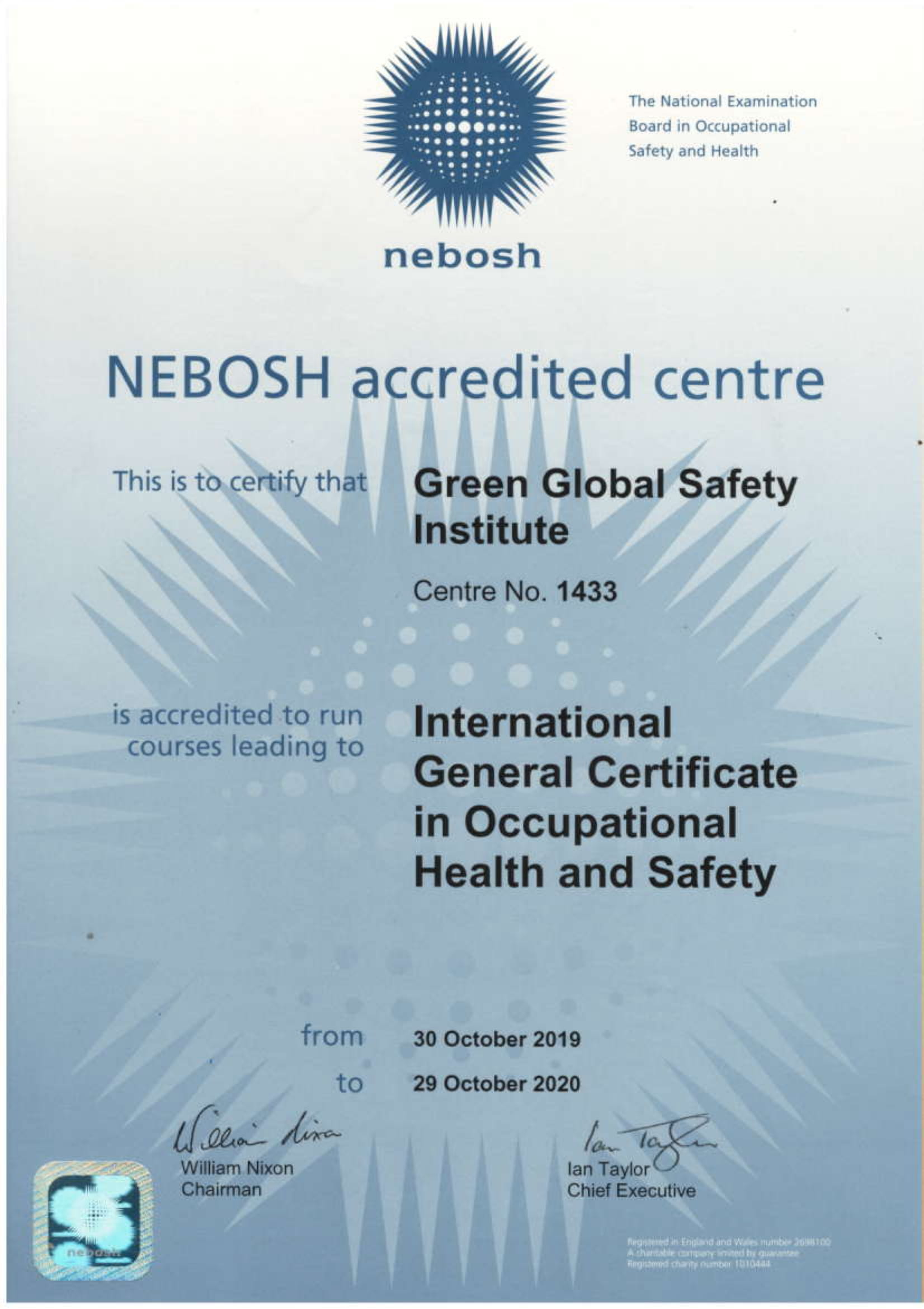 NEBOSH LICENSE 2019 to 2020